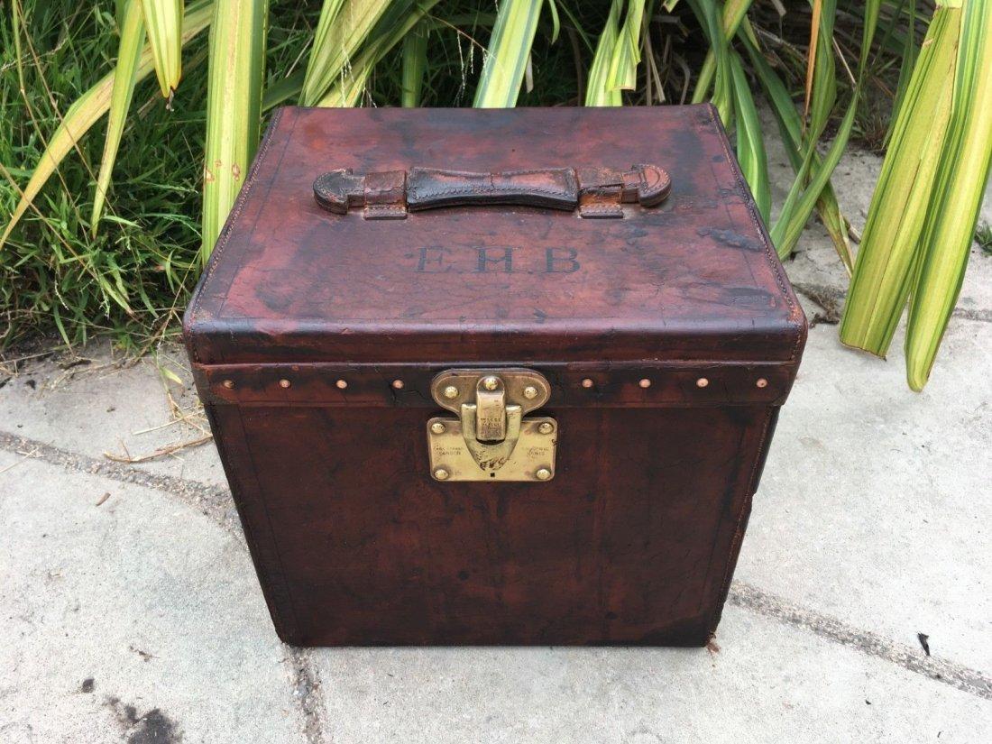 Antique Louis Vuitton Leather hat Steamer Trunk.