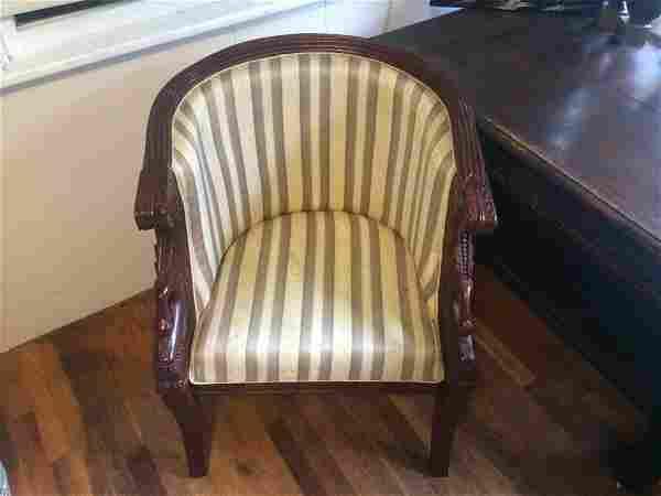 Maitland Smith Hand Carved Mahogany Empire armchairs Sw