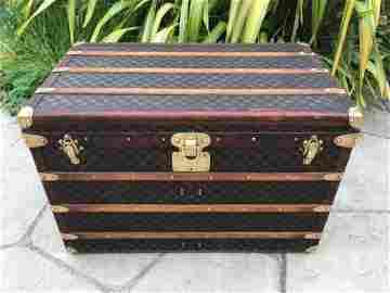 LOUIS VUITTON Antique Monogram Damier Steamer trunk