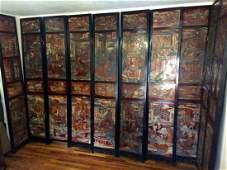 Antique Chinese Coromandel screen Room divider 10 panel