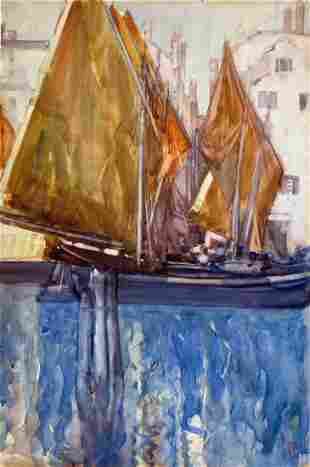 FRANCES HODGKINS - Sails also known as The Fishing