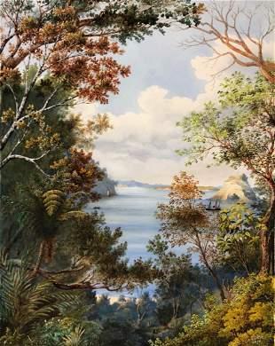 ALFRED SHARPE - View through the Bush, Matakatia Bay