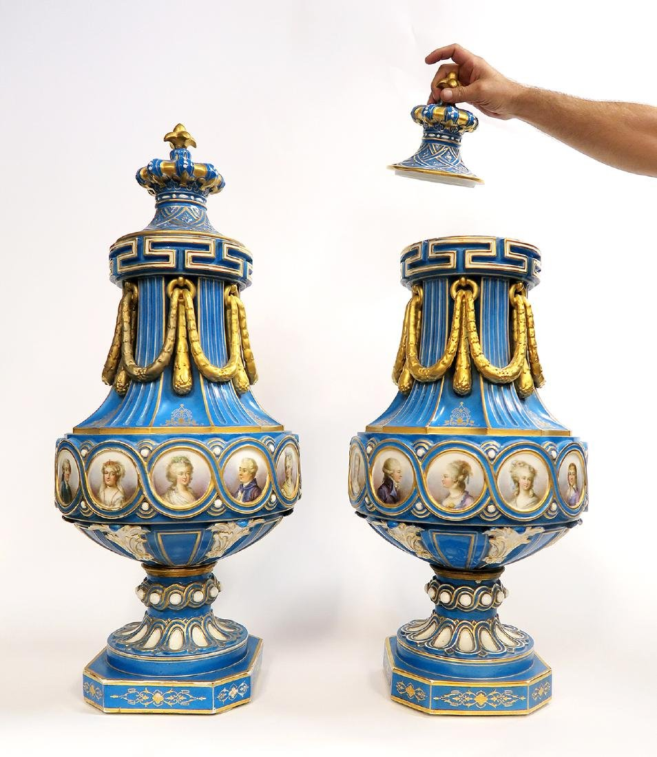 A Pair of Monumental Sevres PortraitVases