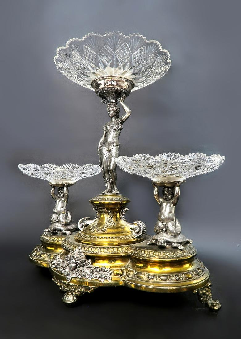 A Large 19th C. Silver-plated WMF Figural Centerpiece - 2