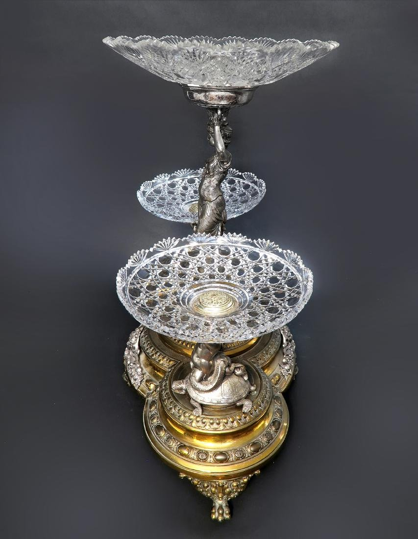 A Large 19th C. Silver-plated WMF Figural Centerpiece - 3