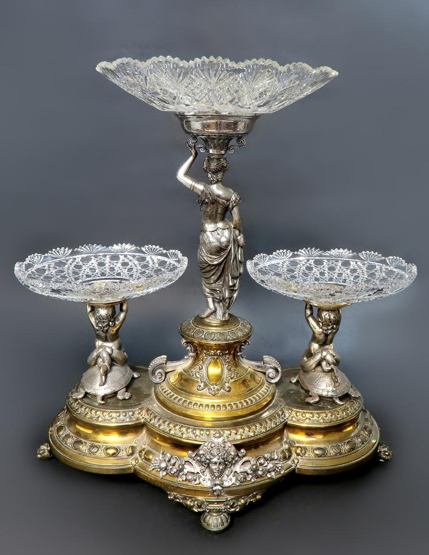 A Large 19th C. Silver-plated WMF Figural Centerpiece - 4