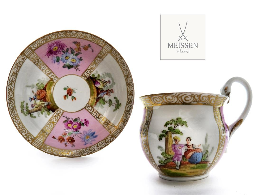 19th C. Meissen Cup and Saucer