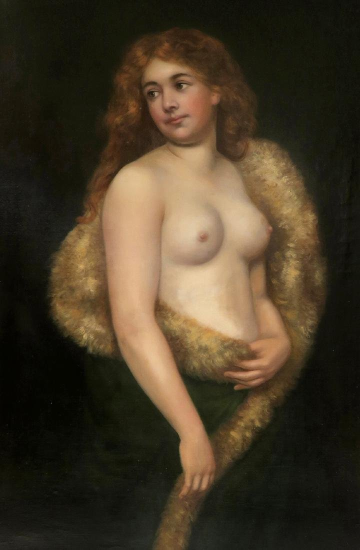Delphin Enjolras Large Oil on Canvas Semi Nude Painting - 3