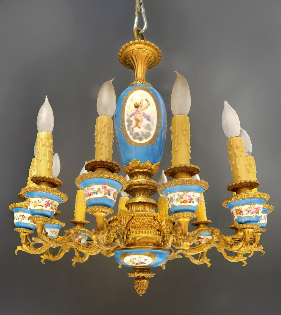 19th C. French Bronze & Sevres Porcelain Chandelier - 2