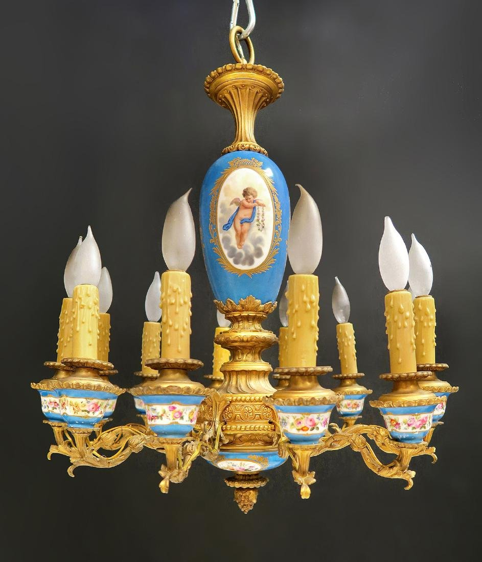 19th C. French Bronze & Sevres Porcelain Chandelier - 4