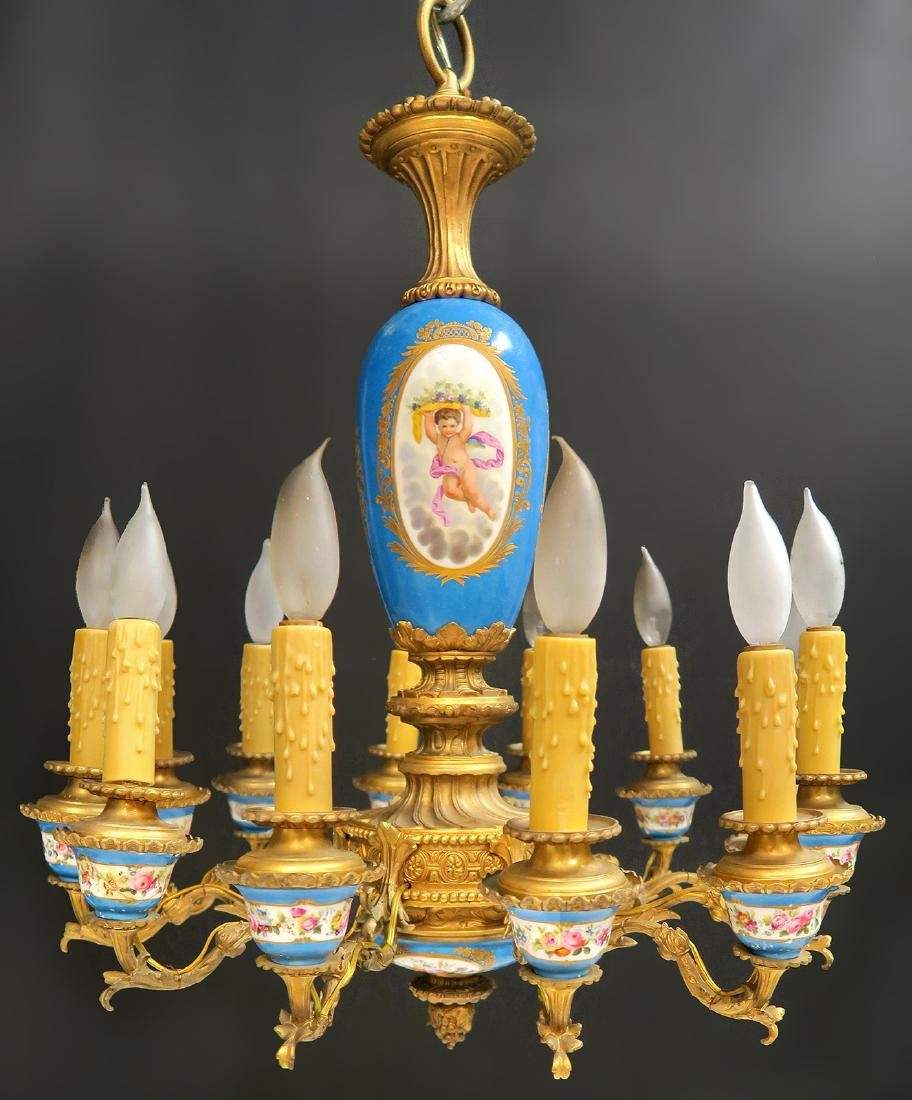 19th C. French Bronze & Sevres Porcelain Chandelier - 5
