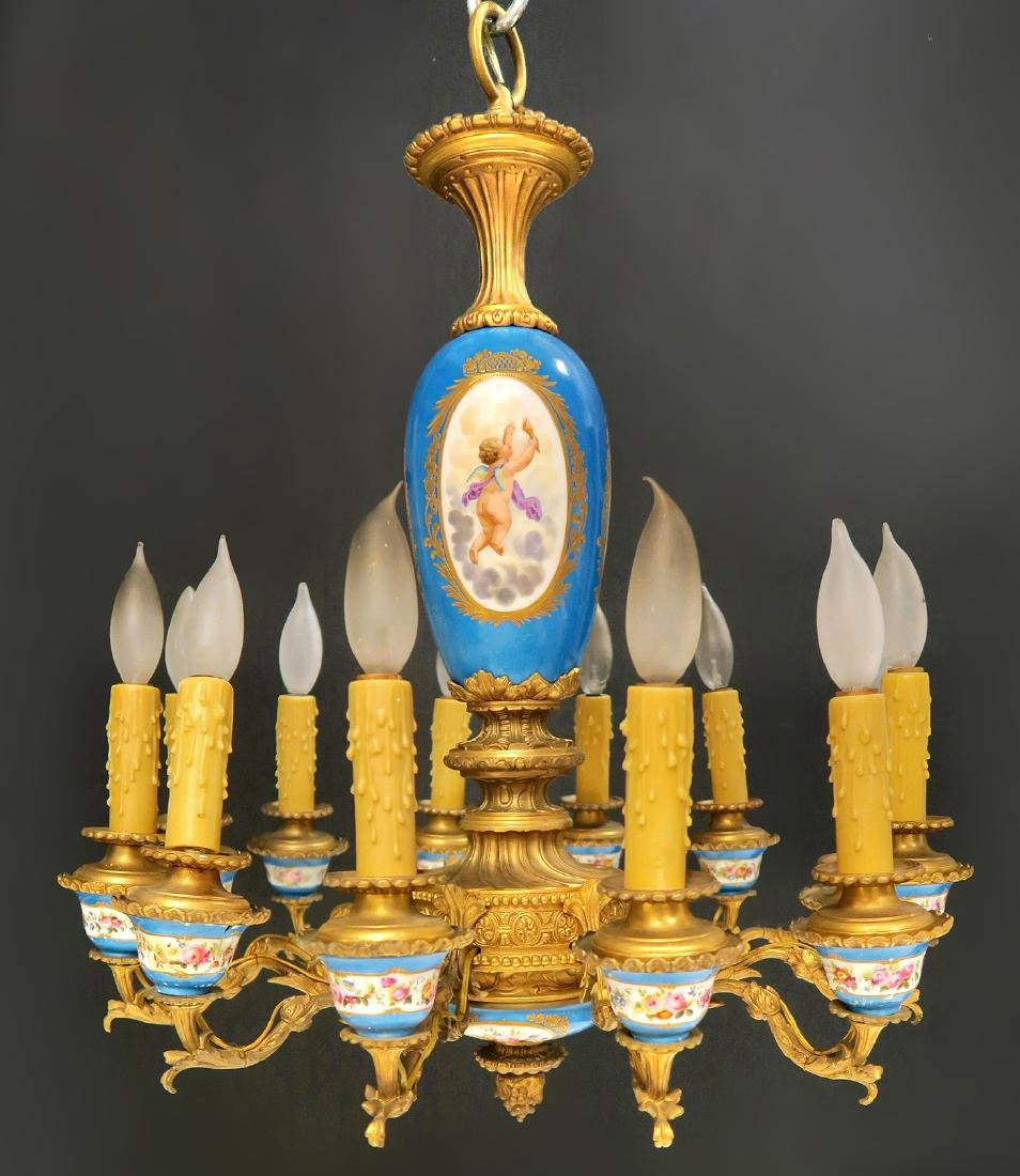 19th C. French Bronze & Sevres Porcelain Chandelier - 6