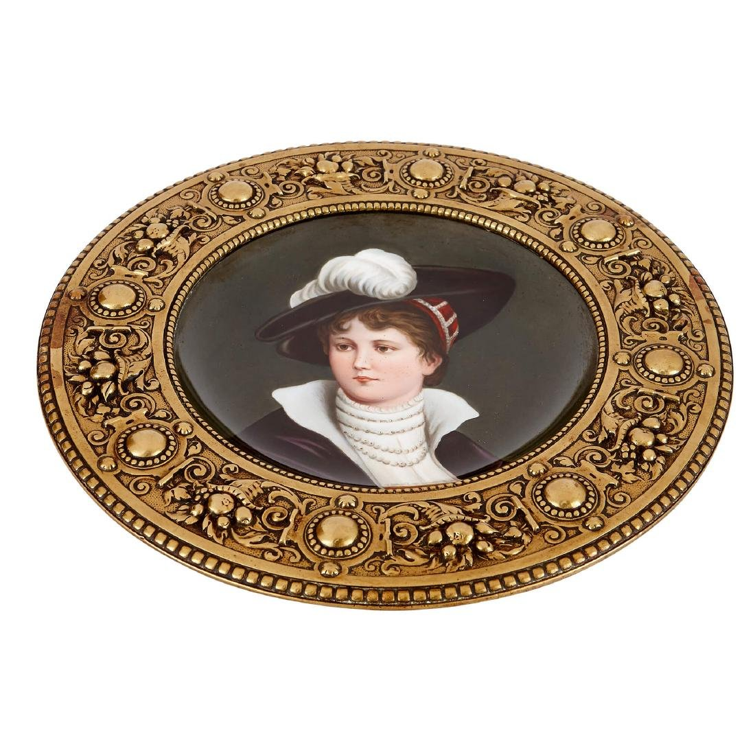 TWO AUSTRIAN CIRCULAR PAINTED PLAQUES IN BRASS FRAMES - 5