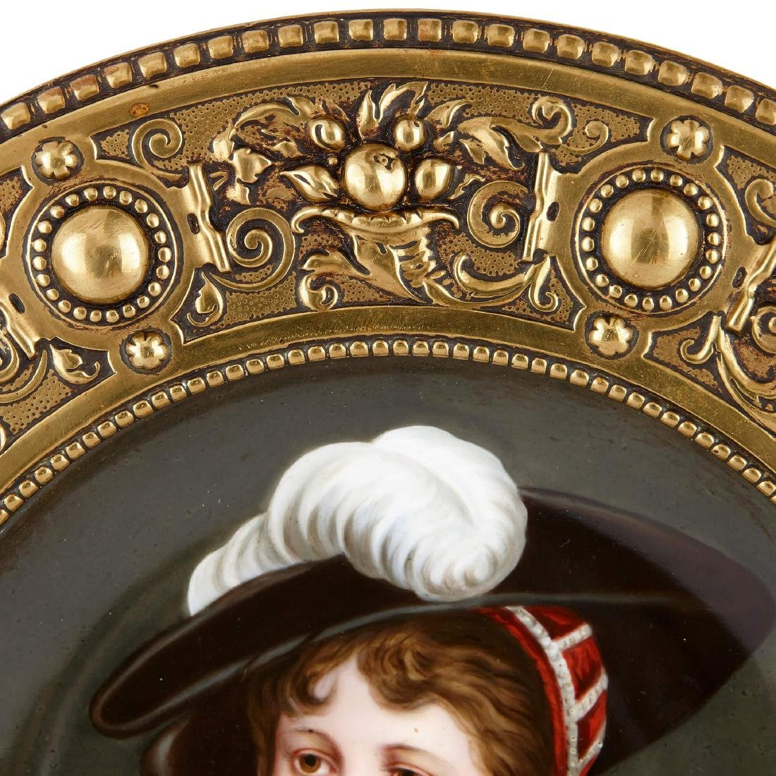 TWO AUSTRIAN CIRCULAR PAINTED PLAQUES IN BRASS FRAMES - 6