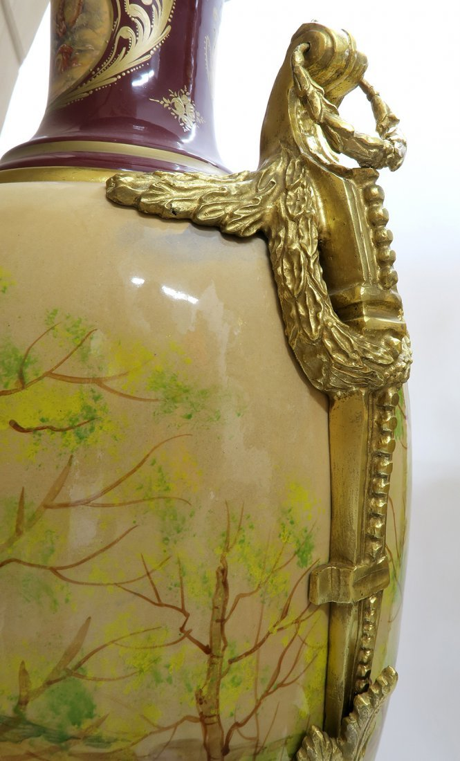 Monumental Pair of Bronze Mounted Sevres Vases - 9