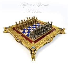 19th C. Alphonse Giroux Figural Bronze/Enamel Chess Set
