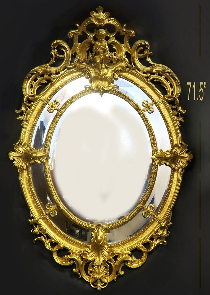 A Monumental French Hand Curved Wood Figural Mirror - 2