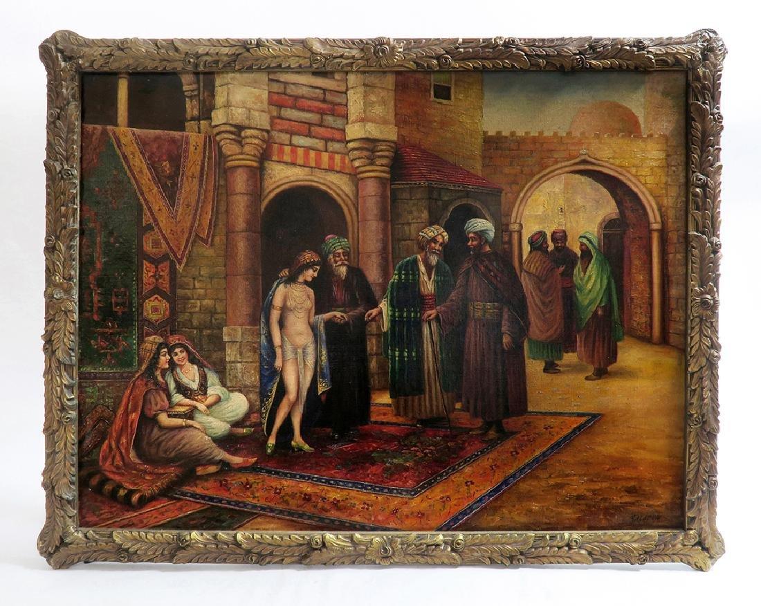 Orientalist Signed Oil On Canvas Painting Nude Harem