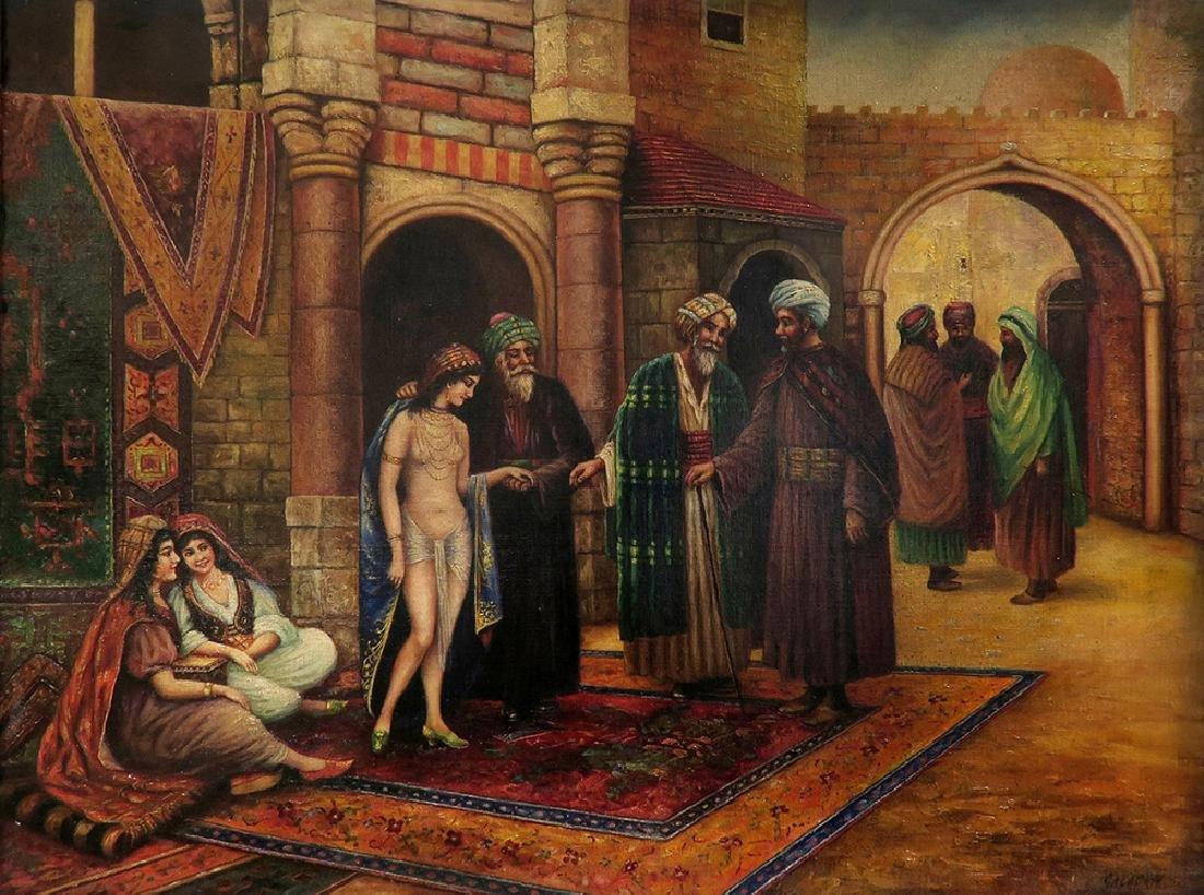 Orientalist Signed Oil On Canvas Painting Nude Harem - 2