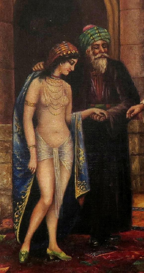 Orientalist Signed Oil On Canvas Painting Nude Harem - 4