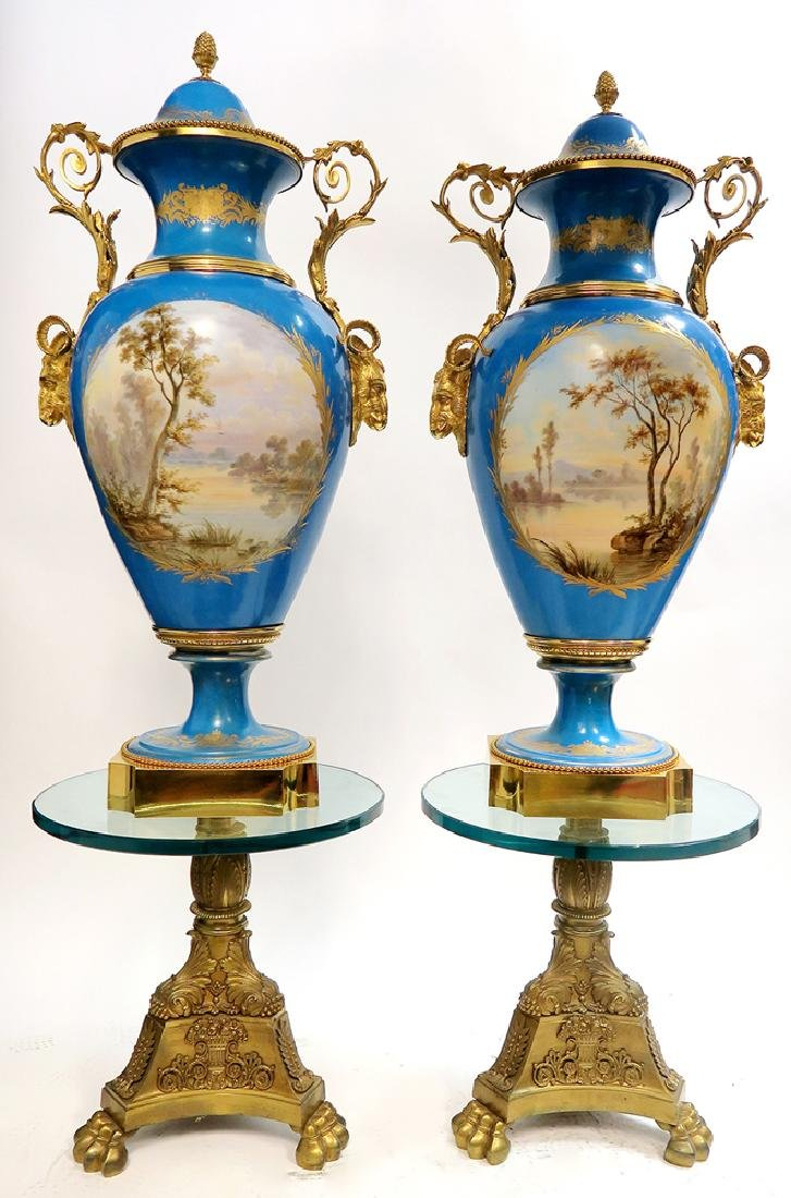 A Pair of Monumental Bronze Mounted Sevres Vases - 3