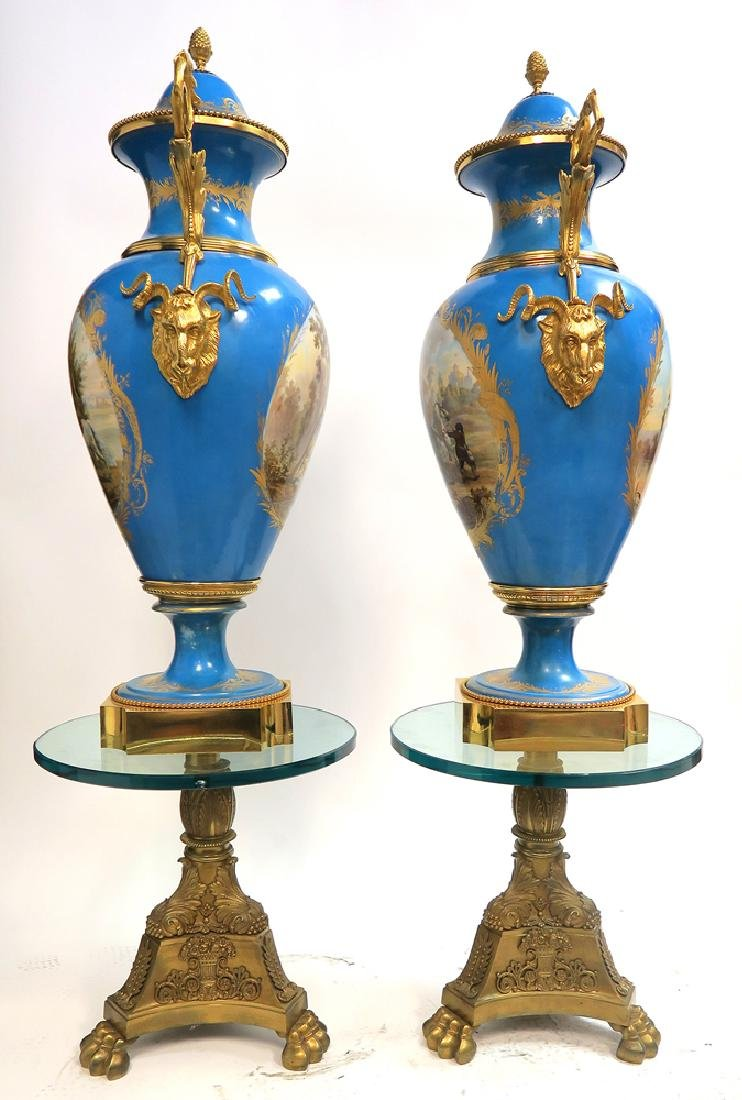 A Pair of Monumental Bronze Mounted Sevres Vases - 4