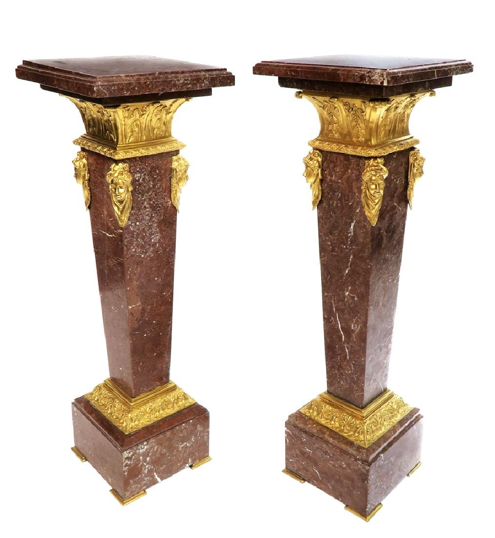 A Pair of Bronze Mounted Rouge Marble Pedestals - 2