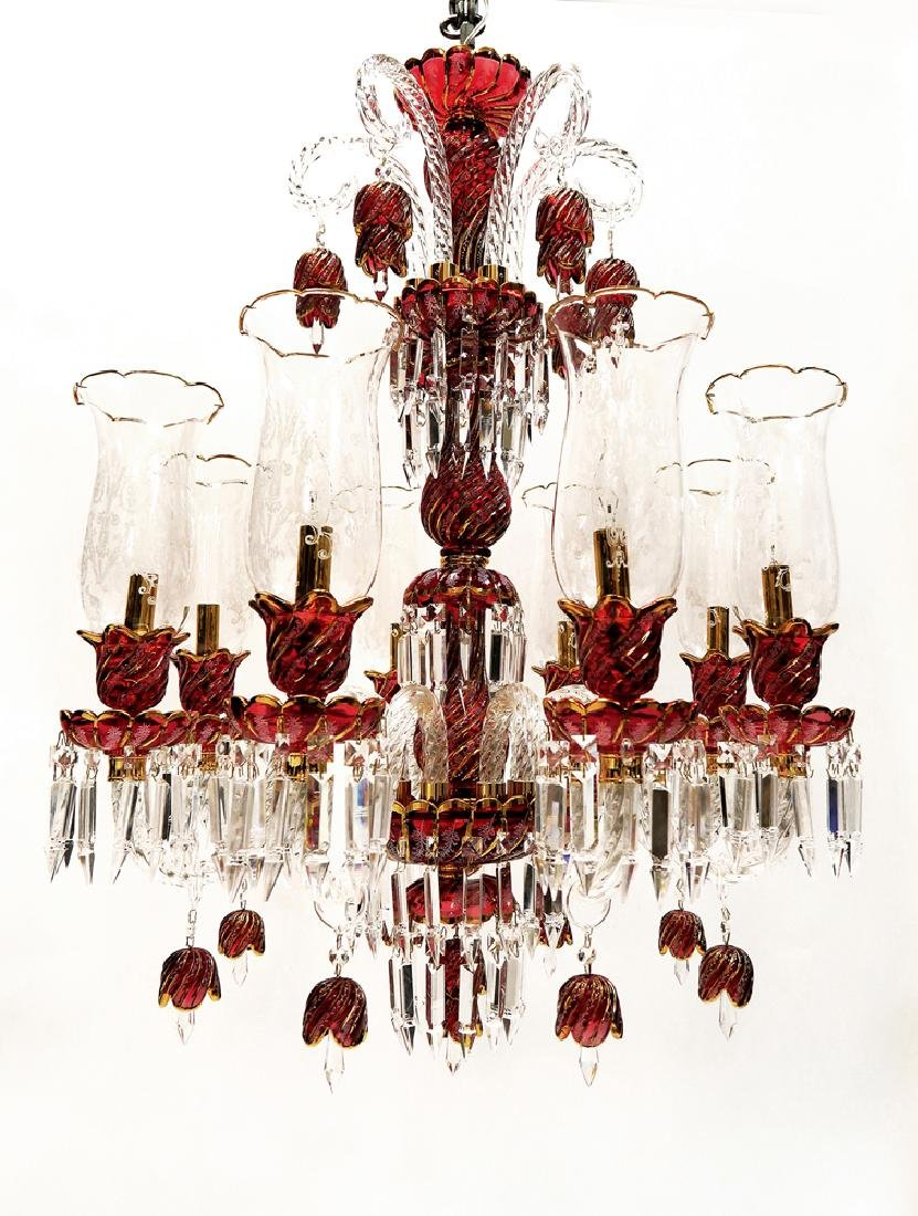 Baccarat Style 8 Branch Crystal Chandelier