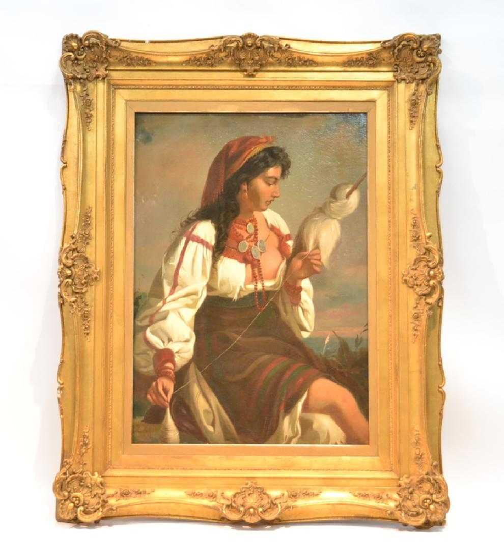 A LARGE OIL ON CANVAS OF ORIENTALIST GIRL 19th C.