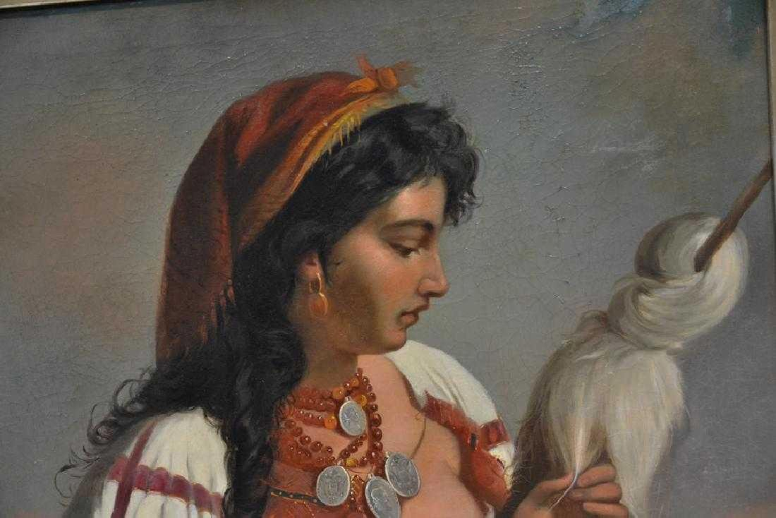 A LARGE OIL ON CANVAS OF ORIENTALIST GIRL 19th C. - 3