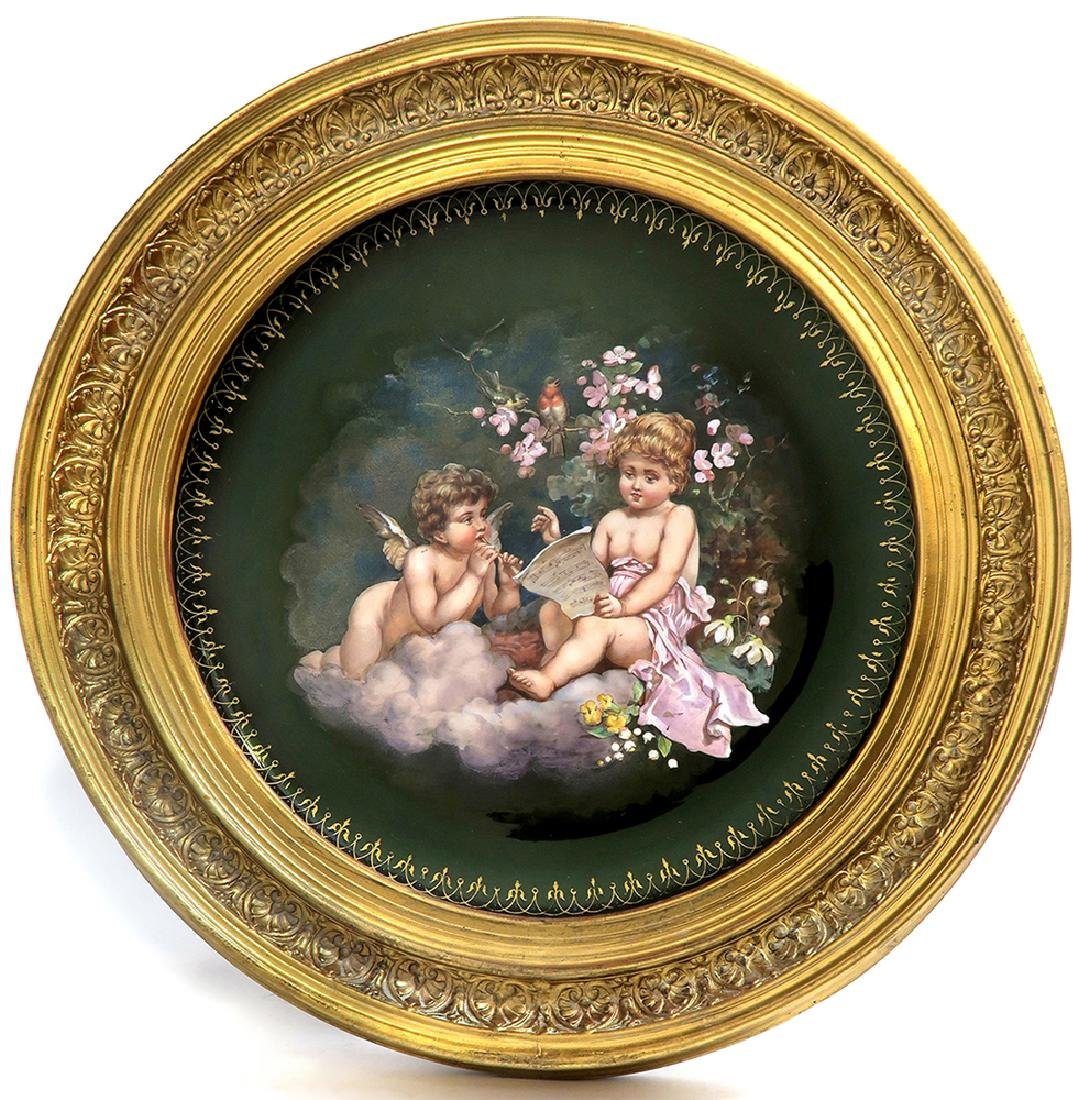 A Large 19th C. Framed Hand Painted Glass Charger