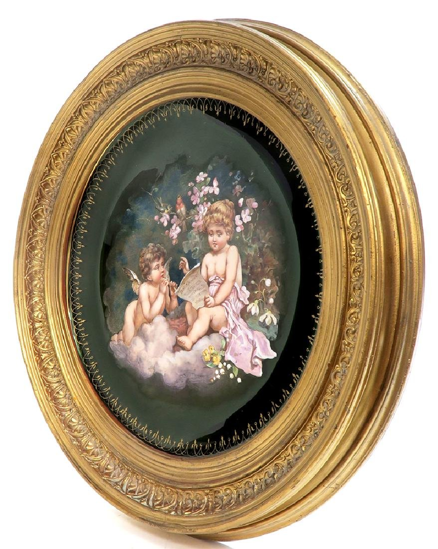 A Large 19th C. Framed Hand Painted Glass Charger - 3