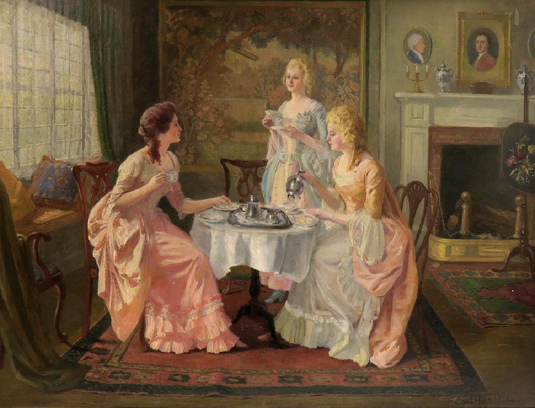 """Carl Hirschberg Large Oil on Canvas """"Afternoon Tea"""" - 2"""