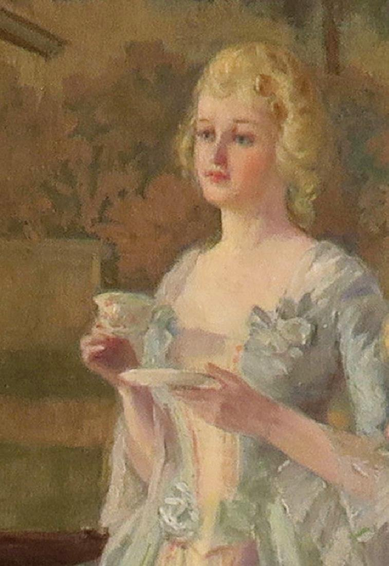 """Carl Hirschberg Large Oil on Canvas """"Afternoon Tea"""" - 4"""