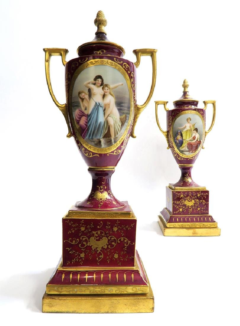 19th C. Pair of Royal Vienna Vases - 2