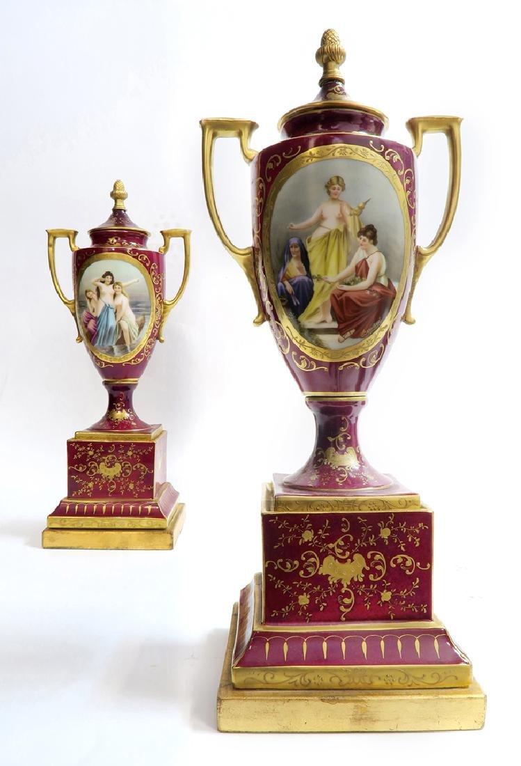 19th C. Pair of Royal Vienna Vases - 3