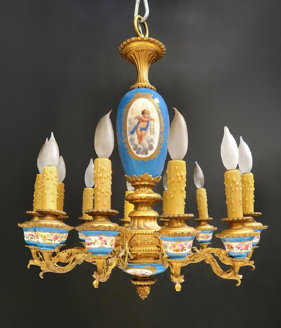 19th C. French Bronze & Sevres Porcelain Chandelier - 4