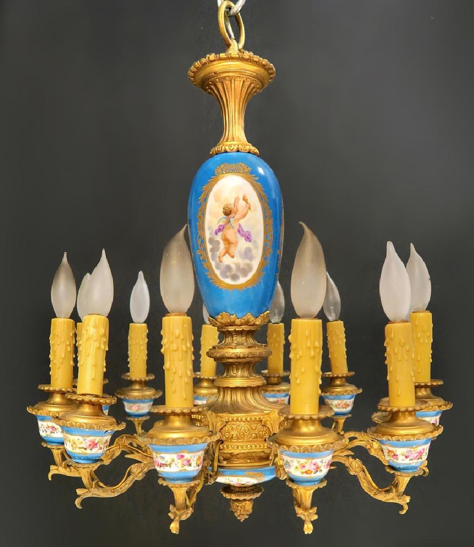 19th C. French Bronze & Sevres Porcelain Chandelier - 6