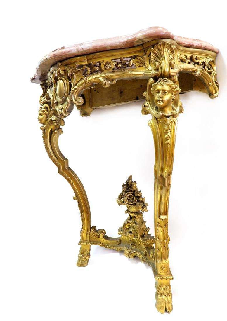 A Fabulous 19th C. French Figural Gilt Console Table - 2