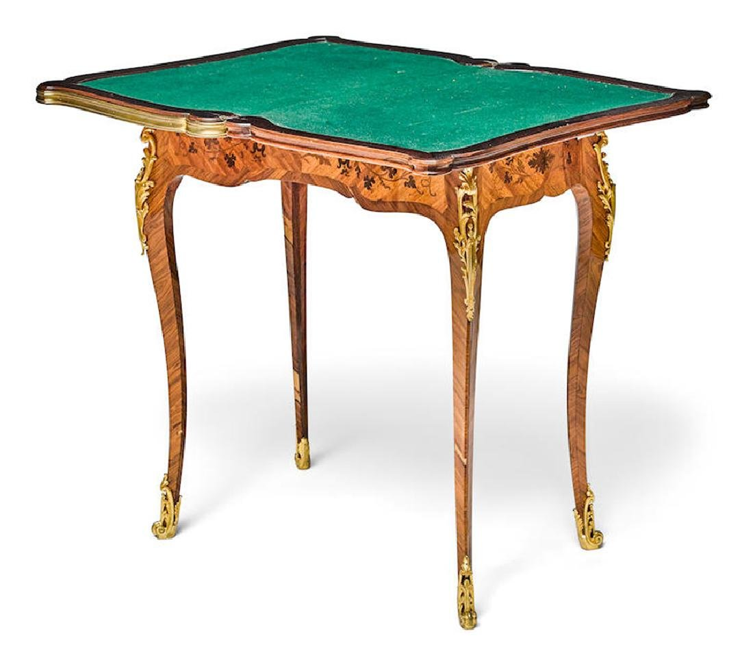 19th C. Louis XV Style Gilt Bronze/Kingwood Games Table - 2