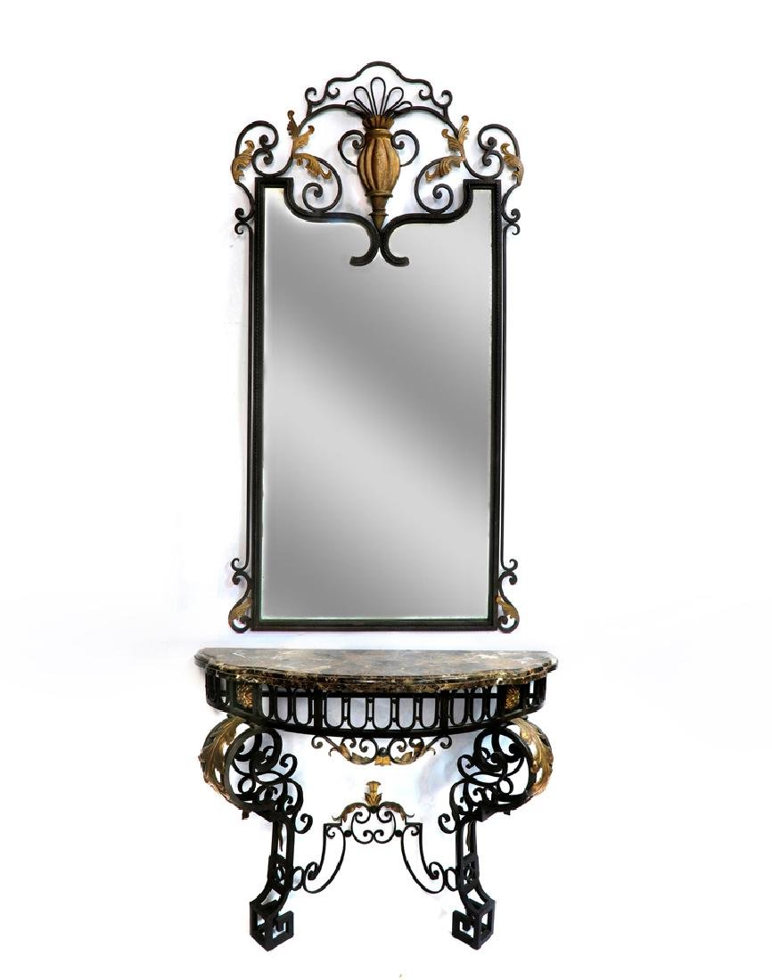 French Regence Wrought Iron Mirror & Console - 2