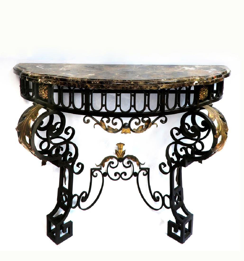 French Regence Wrought Iron Mirror & Console - 3