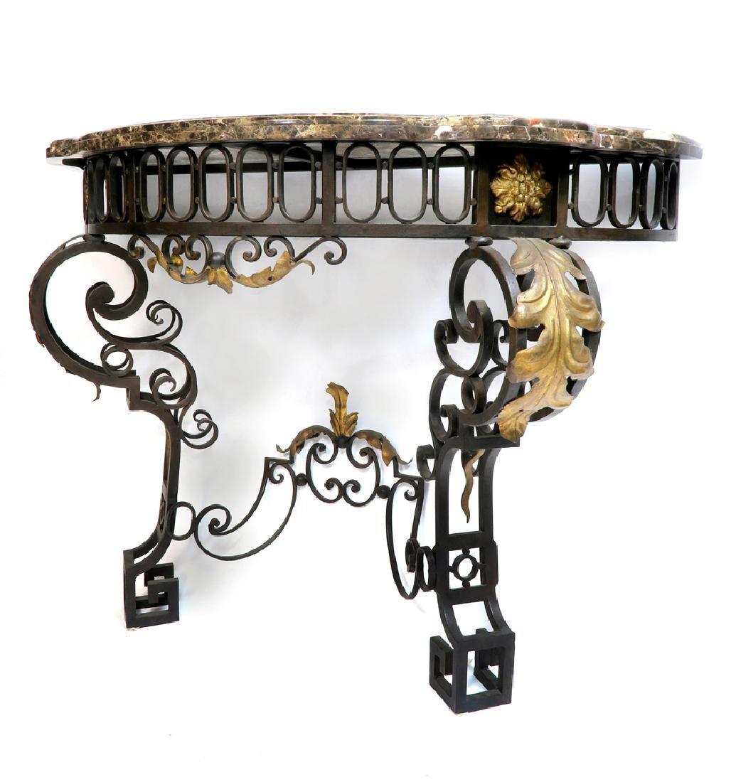 French Regence Wrought Iron Mirror & Console - 5