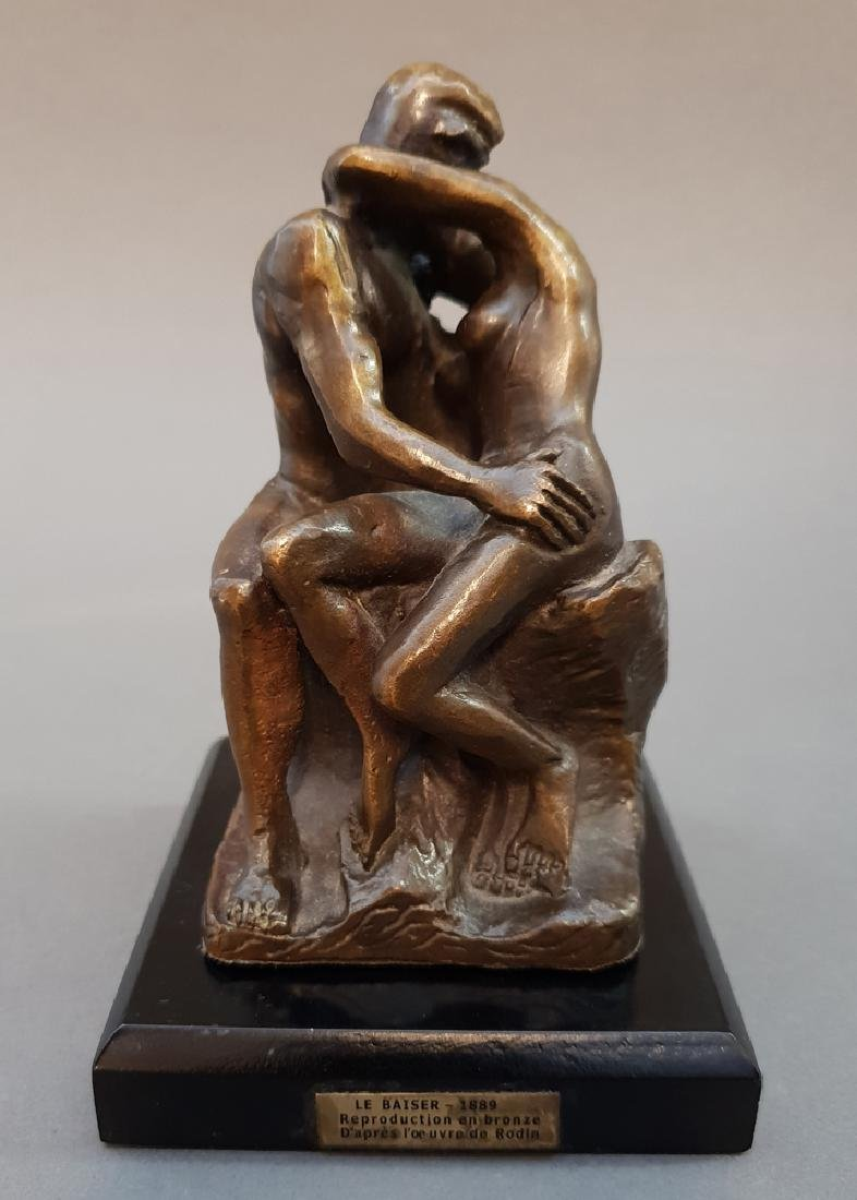 "After AUGUSTE RODIN ""The Kiss"" Bronze Statue, Vintage"
