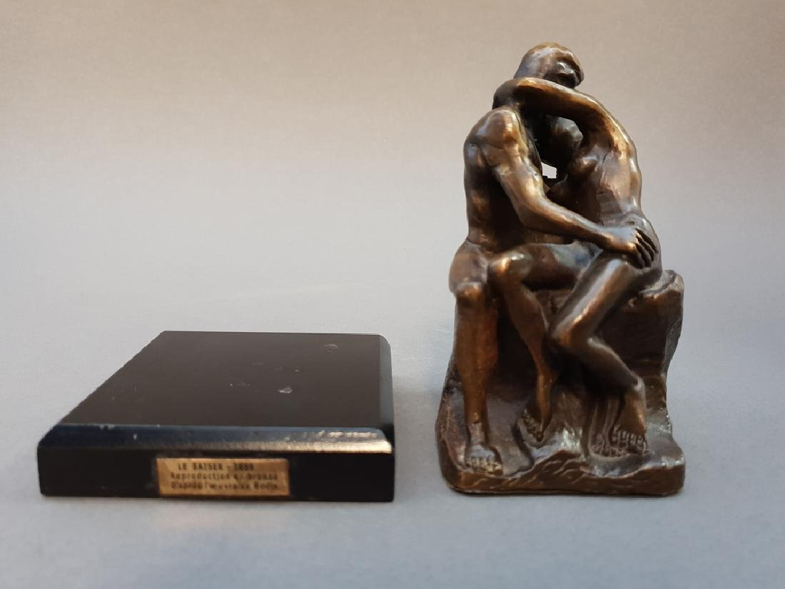 "After AUGUSTE RODIN ""The Kiss"" Bronze Statue, Vintage - 9"