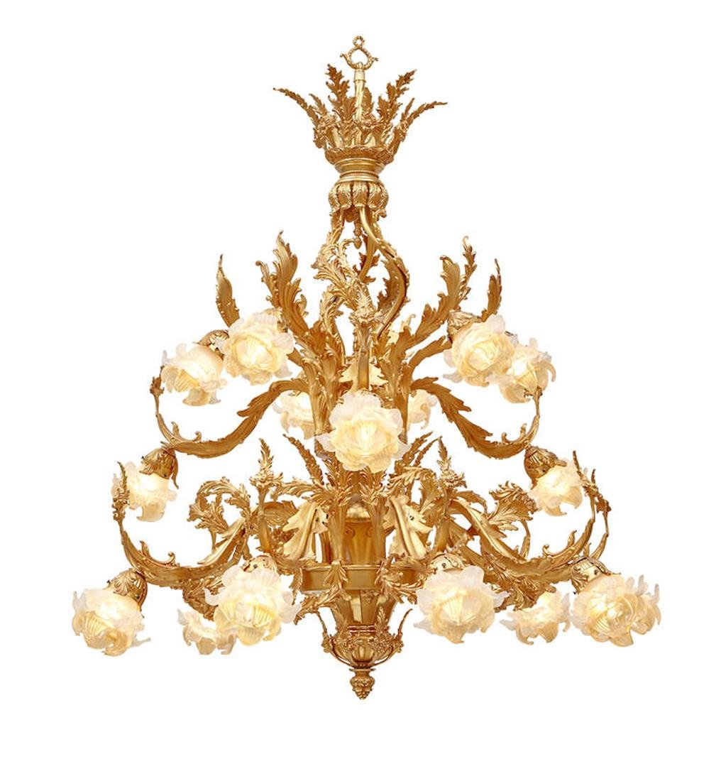 LOUIS XV STYLE BRONZE/FROSTED GLASS 18 LIGHT CHANDELIER