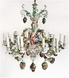 A Large Meissen Porcelain Figural Chandelier. 19th C.