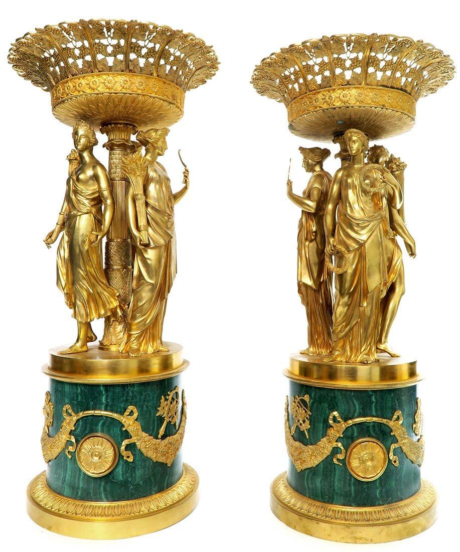 Pair of Monumental Empire Bronze/Malachite Centerpieces - 2