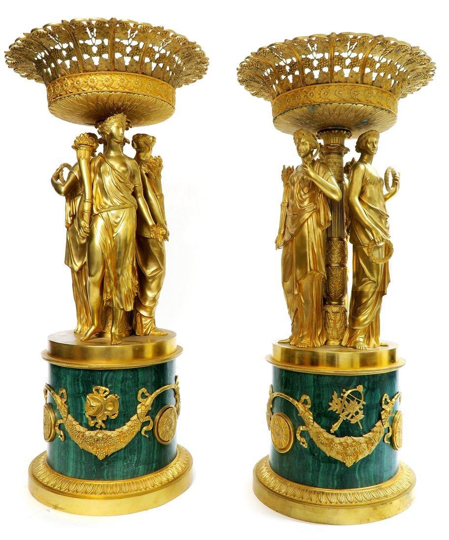 Pair of Monumental Empire Bronze/Malachite Centerpieces - 3