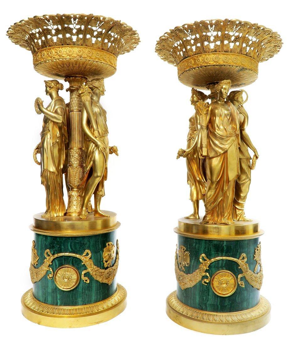 Pair of Monumental Empire Bronze/Malachite Centerpieces - 4